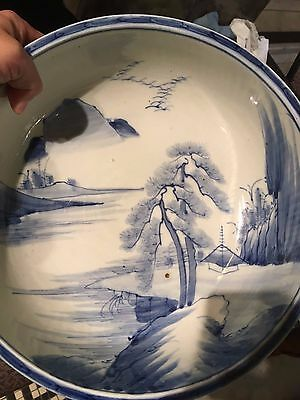 chinese or japanese white and bule bowl ceramics antique
