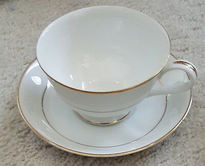 Set of 6 Antique Noritake China Japan cups and saucers white with gold trim