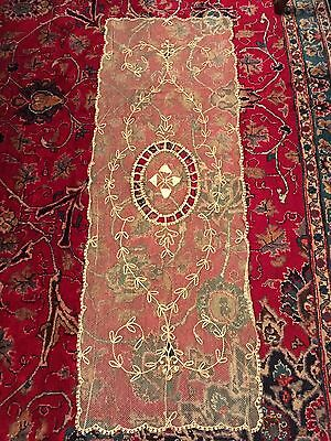 Vintage French Tambour Lace Table Runner