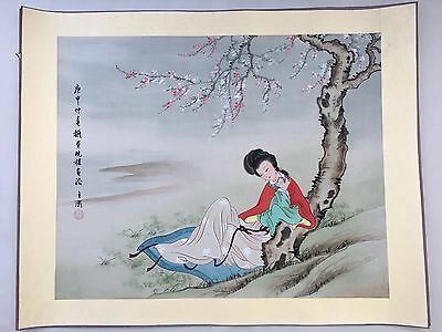 """39"""" Antique Chinese Signed Watercolor Painting Woman Rice Paper w/Silk Vintage 1"""