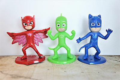 3 PCS - PJ MASK Catboy Owlette CAKE TOPPER Figures Set Birthday Toy Doll Party