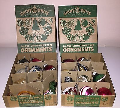 2 Boxes (18 Ornaments) Glass Tree Ornamnets Shiny Brite - Nice Boxes Very Clean