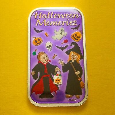 Halloween Memories Enameled Silver 1 Oz Bar By Cmg Mint Only 40 Made Ultra Rare