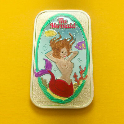 The Mermaid Enameled Silver 1 Oz Bar By Cmg Mint Only 55 Made Ultra Rare