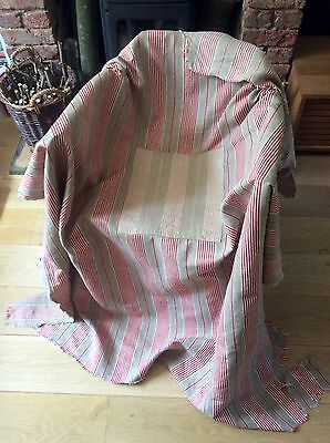 Antique 1930s French Ticking Fabric Timeworn Distressed Rustic Patch Red Stripe