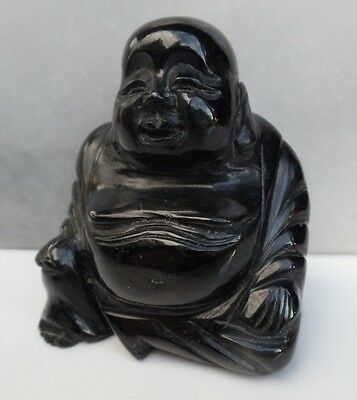 Carved Buddha Cowell black nephrite jade sitting 'lucky' collection - 2510