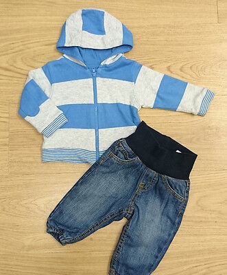 H&m M&s Baby Boys Outfit Bundle Age 3-6 Months Blue Hoodie Jeans Joggers