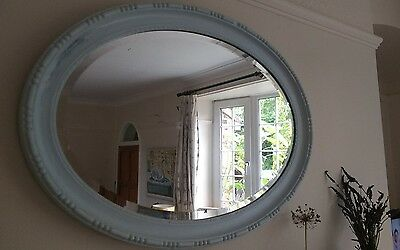 Pretty painted pale blue wooden oval mirror (Edwardian?)