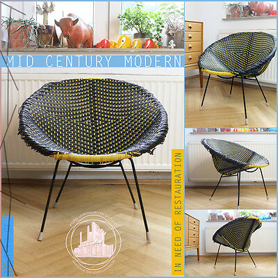 Orbit Wicker Vintage Mid Century Modern Easy Chair Armchair Sessel Franco Albini