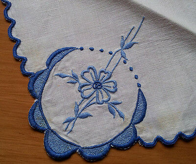 Linen napkins, 3, white with blue embroidery, vintage