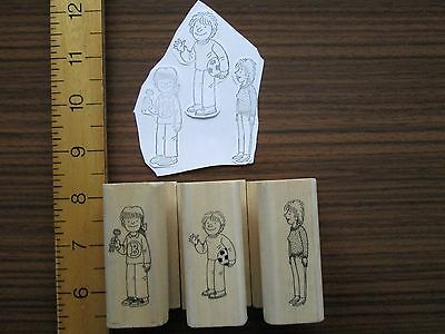 3 x Children wood mounted rubber stamps