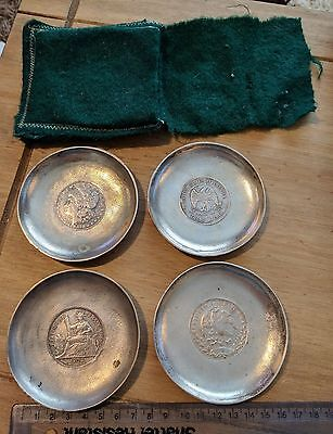 4 Zee Sung Chinese Silver Dishes with silver coins from the USA, France & Mexico
