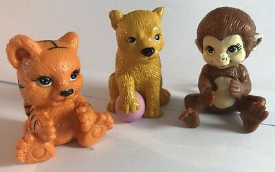 LOT of 3 PVC Baby Animals Monkey Bear Lion Figurine Cake Topper Toy Figurine