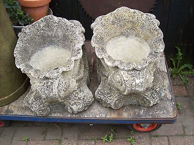 x 2 a pair of fantastic  Old stone shell  Antique Garden Planters Flower Pots