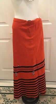 NATIVE AMERICAN Style Ribbon SKIRT Pow Wow Regalia Handmade Orange Black Ribbon