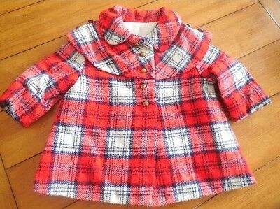 Vintage toddler girl boy Mid century Red Plaid crop swing Dress Coat jacket
