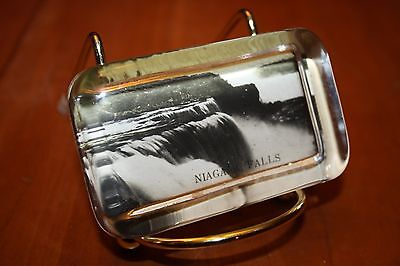 "Vintage Niagara Falls 3.125"" x 2"" x .75"" Souvenir Glass Paperweight with Photo"
