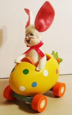 Annalee Doll Bunny Rabbit in Wooden Egg Easter Cart