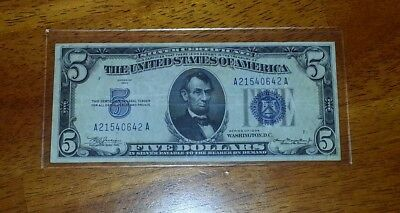 Old Us Paper Money1934 Good Signature Note !! 5$ Silver Certificate !!