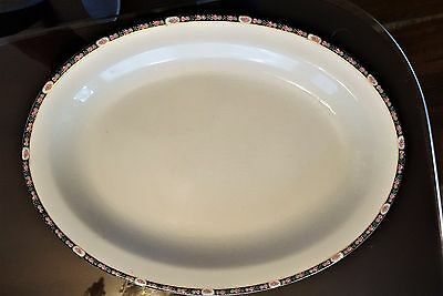 W S George China Derwood Pink Roses Rim USA platter serving table porcelain