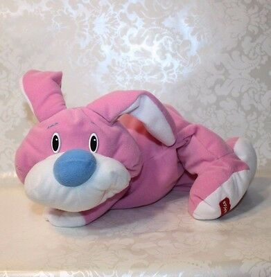 1999 Fisher Price RUMPLE BUNNY Bear Blue Nose Pink & White Plush