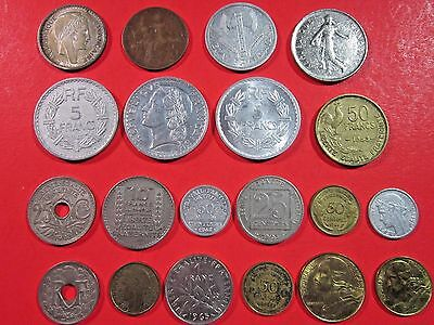 France. Vintage Lot Of 20 Assorted French Coins. See Pics.