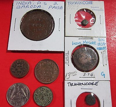 India. Old Lot Of 8 Coins. Mysore, Baroda, Kutch, British, Trvancore, Et.