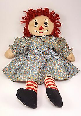 RARE!!!! VINTAGE Raggedy Ann Doll - Hand Stitched Face with 2 Hole Button Eyes