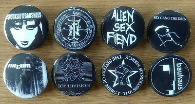 8x Goth rock 25mm button badges Sisters of Mercy Siouxsie Bauhaus Cure Nephilim