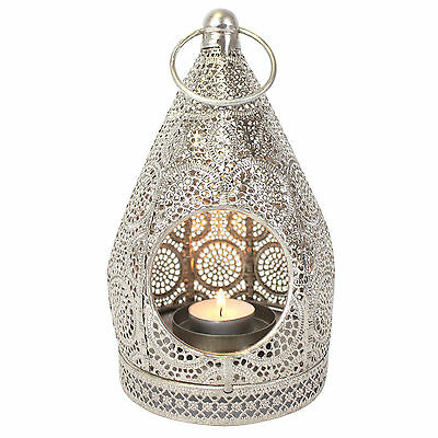 Gorgeous Moroccan Silver Tealight Tea Light Candle Holder Lantern