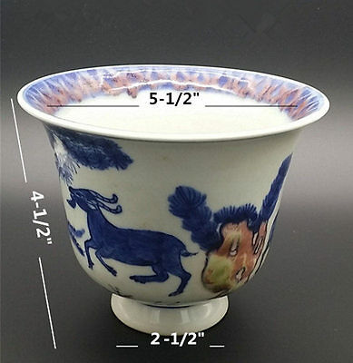 Glazed Blue and White,  print Three Sheep  & Pine, bamboo, plum porcelain bowl