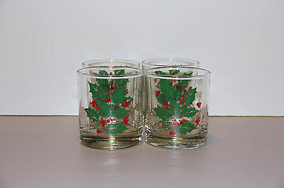 """Four Holly Noel Old Fashioned Tumblers 3 1/4"""" 9oz - Indiana Glass Co"""