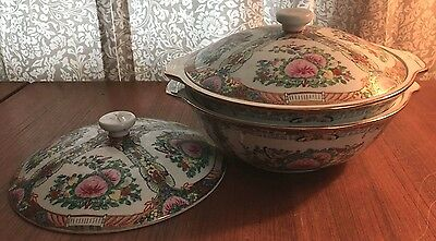 Pair Rose Famille Chinese Dinnerware Lidded Serving Bowls