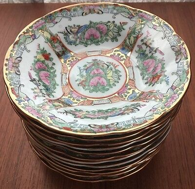 Lot Of 12 Rose Famille Chinese Dinnerware Small Bowls