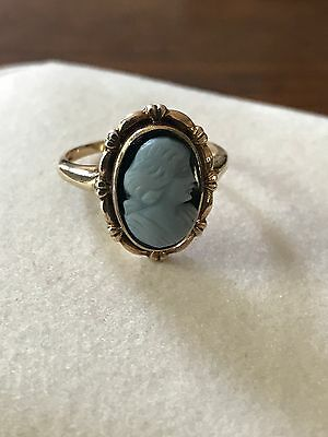 Antique Victorian Carved Sardonyx Intaglio Lady Ring 14k Gold Size 5 Cameo