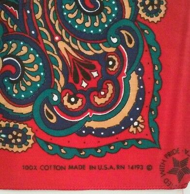 Vintage Red Paisley Print Bandana RN 14193 Made in USA 100% Cotton Multicolor