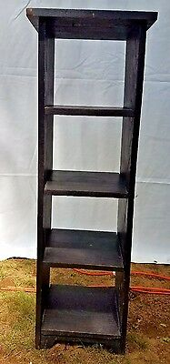 ANTIQUE Arts & Crafts 5 Shelf Stand Ash Wood Black Stain Nice!