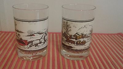 Pair Of Currier And Ives Arby's Drinking Glass Dated 1978 One And Three Of Four