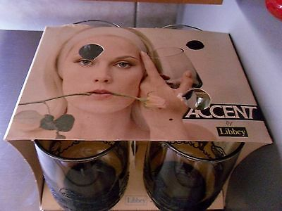 New w/box Set of 4 Accent by Libbey Mushroom Brown 12oz Beverage Glasses #376