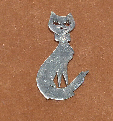 Mexican Silver Cat Pin 925TD 145 Possibly Taxco