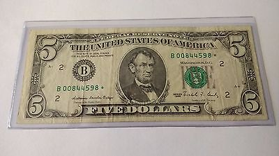 ** 1988 - $5 Federal Reserve Star Note - B00844598* - New York **