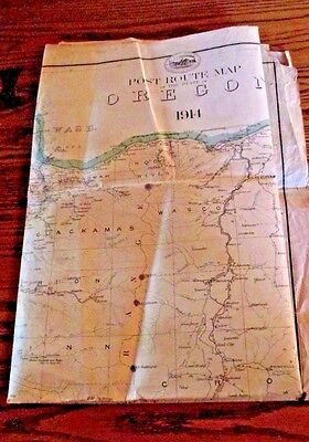 "ORIGINAL OREGON STATE MAP-1914 POST OFFICE DEPARTMENT POST ROUTE MAP-33"" x 44"""