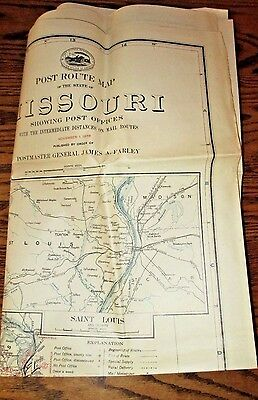 "ORIGINAL MISSOURI STATE MAP-1938 POST OFFICE DEPARTMENT POST ROUTE MAP-36"" x 48"""