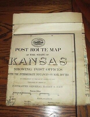 "ORIGINAL KANSAS MAP-1929 POST OFFICE DEPARTMENT POST ROUTE MAP-2/3 STATE-30""x34"""