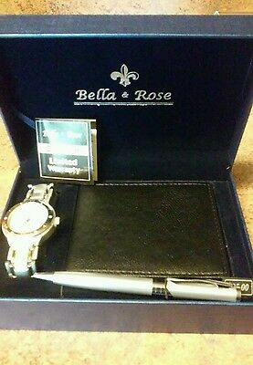 Men's Gift Set Includes Watch, Wallet, Pen! Bella & Rose Gift Boxed! NWT!!