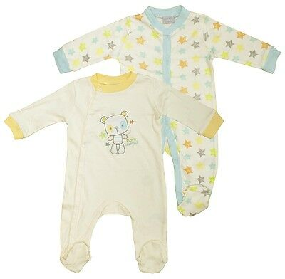 Boys Baby PACK OF 2 Teddy Bear Love Cuddles Sleepsuits Newborn to 9 Months
