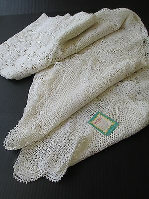 """Vintage Unused Hand Crochet Lace Tablecloth/bedspread  72"""" X 108"""" New Old Stock"""