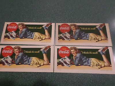 """Coca Cola 1942 """"I Think It's Swell"""" Ink Blotters – 4  Blotters!"""