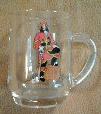 Captain Morgan Rum Clear Glass Mug rare USA Pirate Cup Jolly Roger