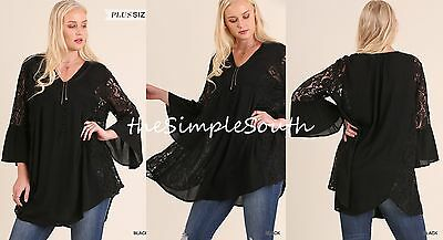 7730770657f New UMGEE Black Bell Sleeve Lace Panel Soft Gauze Swing Long Drape Tunic Top  XL